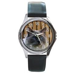 Ragdoll, Blue Round Metal Watch