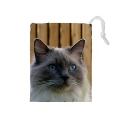 Ragdoll, Blue Drawstring Pouches (Medium)
