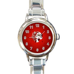 Funny Santa Claus  On Red Background Round Italian Charm Watch