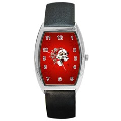 Funny Santa Claus  On Red Background Barrel Style Metal Watch