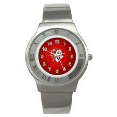 Funny Santa Claus  On Red Background Stainless Steel Watch