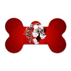 Funny Santa Claus  On Red Background Dog Tag Bone (One Side)