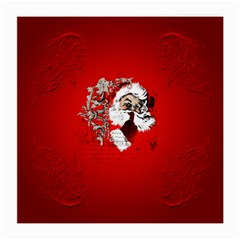 Funny Santa Claus  On Red Background Medium Glasses Cloth (2-Side)