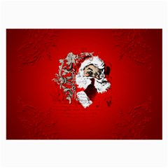 Funny Santa Claus  On Red Background Large Glasses Cloth (2-Side)