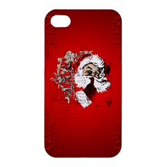 Funny Santa Claus  On Red Background Apple iPhone 4/4S Hardshell Case