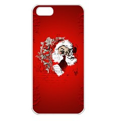 Funny Santa Claus  On Red Background Apple iPhone 5 Seamless Case (White)
