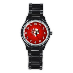 Funny Santa Claus  On Red Background Stainless Steel Round Watch