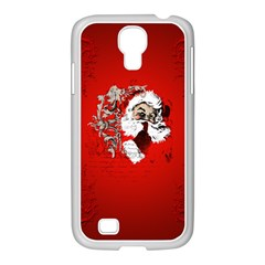 Funny Santa Claus  On Red Background Samsung GALAXY S4 I9500/ I9505 Case (White)