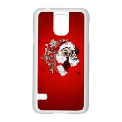 Funny Santa Claus  On Red Background Samsung Galaxy S5 Case (White)