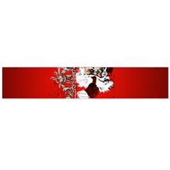 Funny Santa Claus  On Red Background Flano Scarf (Large)