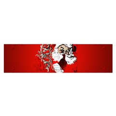 Funny Santa Claus  On Red Background Satin Scarf (Oblong)