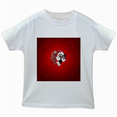 Funny Santa Claus  On Red Background Kids White T Shirts