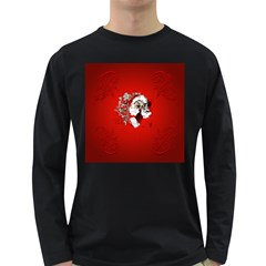 Funny Santa Claus  On Red Background Long Sleeve Dark T-Shirts