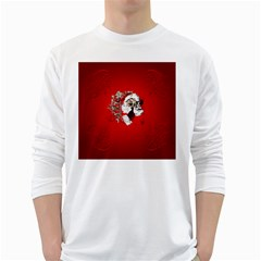 Funny Santa Claus  On Red Background White Long Sleeve T-Shirts