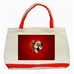 Funny Santa Claus  On Red Background Classic Tote Bag (Red)