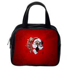 Funny Santa Claus  On Red Background Classic Handbags (One Side)