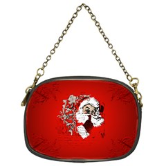 Funny Santa Claus  On Red Background Chain Purses (one Side)