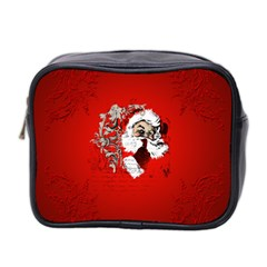 Funny Santa Claus  On Red Background Mini Toiletries Bag 2-Side