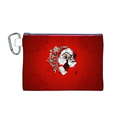 Funny Santa Claus  On Red Background Canvas Cosmetic Bag (M)