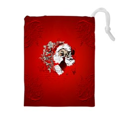 Funny Santa Claus  On Red Background Drawstring Pouches (Extra Large)