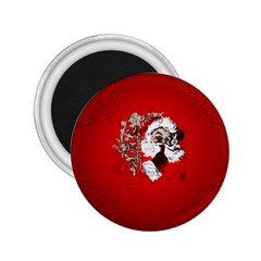 Funny Santa Claus  On Red Background 2.25  Magnets