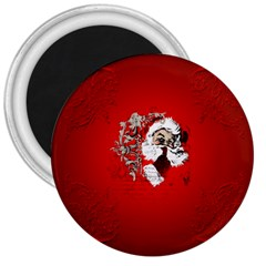 Funny Santa Claus  On Red Background 3  Magnets