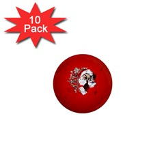Funny Santa Claus  On Red Background 1  Mini Magnet (10 pack)