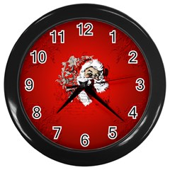 Funny Santa Claus  On Red Background Wall Clocks (Black)