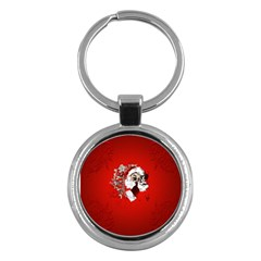 Funny Santa Claus  On Red Background Key Chains (Round)