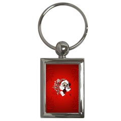 Funny Santa Claus  On Red Background Key Chains (Rectangle)