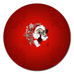 Funny Santa Claus  On Red Background Magnet 5  (Round)