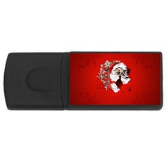 Funny Santa Claus  On Red Background USB Flash Drive Rectangular (2 GB)