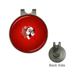 Funny Santa Claus  On Red Background Hat Clips with Golf Markers