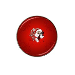 Funny Santa Claus  On Red Background Hat Clip Ball Marker (4 pack)