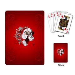 Funny Santa Claus  On Red Background Playing Card
