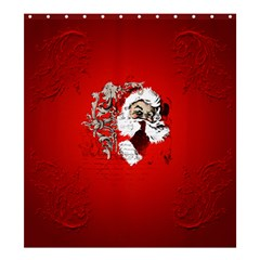 Funny Santa Claus  On Red Background Shower Curtain 66  x 72  (Large)