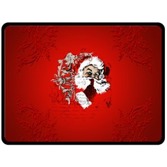 Funny Santa Claus  On Red Background Fleece Blanket (Large)