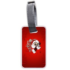 Funny Santa Claus  On Red Background Luggage Tags (Two Sides)
