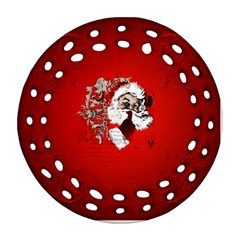 Funny Santa Claus  On Red Background Ornament (Round Filigree)