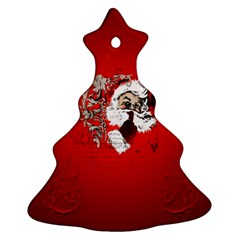 Funny Santa Claus  On Red Background Christmas Tree Ornament (two Sides)
