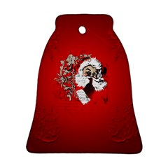 Funny Santa Claus  On Red Background Bell Ornament (Two Sides)