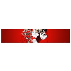 Funny Santa Claus  On Red Background Flano Scarf (Small)