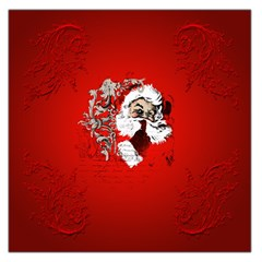 Funny Santa Claus  On Red Background Large Satin Scarf (Square)