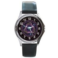Beautiful Turquoise and Amethyst Fractal Jewelry Round Metal Watch