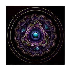 Beautiful Turquoise and Amethyst Fractal Jewelry Tile Coasters