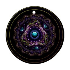 Beautiful Turquoise and Amethyst Fractal Jewelry Ornament (Round)