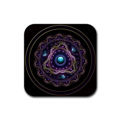 Beautiful Turquoise and Amethyst Fractal Jewelry Rubber Square Coaster (4 pack)