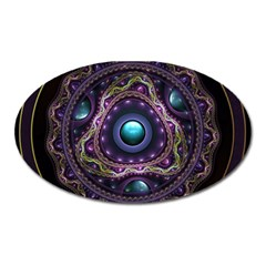 Beautiful Turquoise and Amethyst Fractal Jewelry Oval Magnet