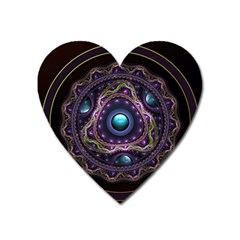 Beautiful Turquoise and Amethyst Fractal Jewelry Heart Magnet