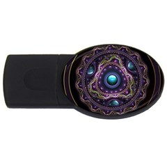 Beautiful Turquoise and Amethyst Fractal Jewelry USB Flash Drive Oval (1 GB)